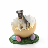 Schnauzer Gray w/Uncropped Ears Easter Egg Figurine