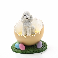 Poodle White w/Sport Cut Easter Egg Figurine