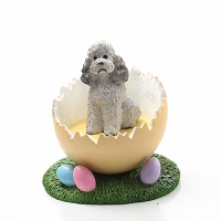 Poodle Gray w/Sport Cut Easter Egg Figurine