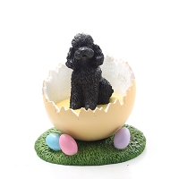 Poodle Black w/Sport Cut Easter Egg Figurine