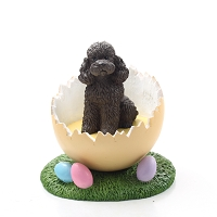 Poodle Chocolate w/Sport Cut Easter Egg Figurine
