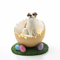 Jack Russell Terrier Brown & White w/Smooth Coat Easter Egg Figurine