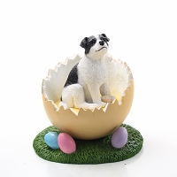 Jack Russell Terrier Black & White w/Smooth Coat Easter Egg Figurine