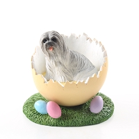 Lhasa Apso Gray Easter Egg Figurine