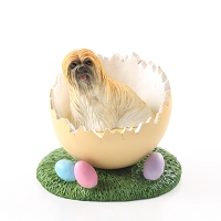 Lhasa Apso Brown Easter Egg Figurine