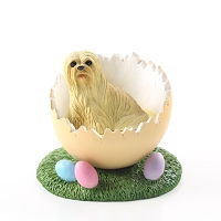 Lhasa Apso Blonde Easter Egg Figurine