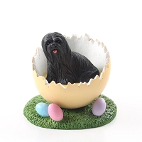 Lhasa Apso Black Easter Egg Figurine