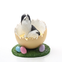 Japanese Chin Black & White Easter Egg Figurine
