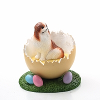 Japanese Chin Red & White Easter Egg Figurine