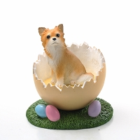 Chihuahua Longhaired Easter Egg Figurine