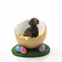 Wire Haired Dachshund Easter Egg Figurine