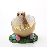 Shih Tzu Tan w/Sport Cut Easter Egg Figurine