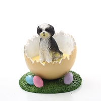 Shih Tzu Black & White w/Sport Cut Easter Egg Figurine