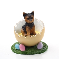 Yorkshire Terrier Puppycut Easter Egg Figurine