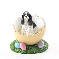 Cocker Spaniel Black & White Easter Egg Figurine