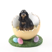 Cocker Spaniel Black & Tan Easter Egg Figurine