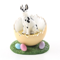 Great Dane Harlequin Easter Egg Figurine