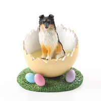 Sheltie Tricolor Easter Egg Figurine