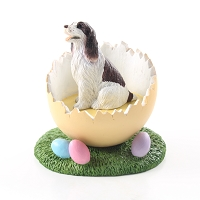 Springer Spaniel Liver & White Easter Egg Figurine
