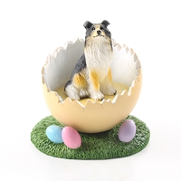 Collie Tricolor Easter Egg Figurine