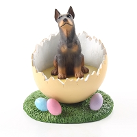 Doberman Pinscher Red w/Cropped Easter Egg Figurine