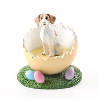 Brittany Brown & White Spaniel Easter Egg Figurine