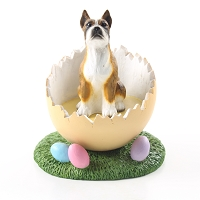 Boxer Brindle Easter Egg Figurine
