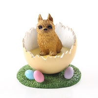 Brussels Griffon Red Easter Egg Figurine