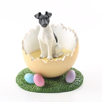 Fox Terrier Black & White Easter Egg Figurine