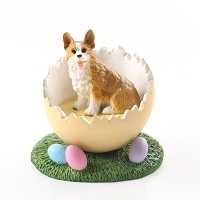 Welsh Corgi Pembroke Easter Egg Figurine