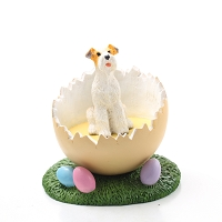 Wire Fox Terrier Red Easter Egg Figurine