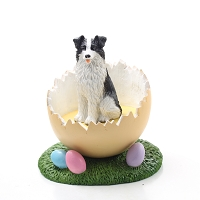 Border Collie Easter Egg Figurine