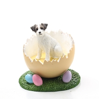 Jack Russell Terrier Brown & White w/Rough Coat Easter Egg Figurine