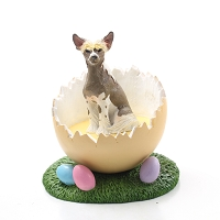 Chinese Crested Dog Easter Egg Figurine