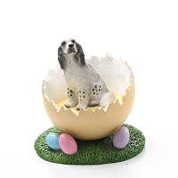 English Setter Belton Blue Easter Egg Figurine