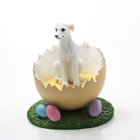 Whippet White Easter Egg Figurine