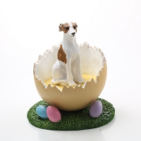 Whippet Brindle & White Easter Egg Figurine