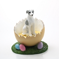 Whippet Gray & White Easter Egg Figurine