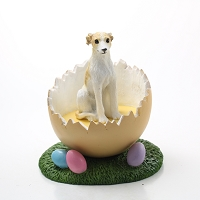Whippet Tan & White Easter Egg Figurine