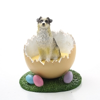 Australian Shepherd Blue w/Docked Tail Easter Egg Figurine