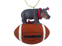 Hippopotamus Football Ornament