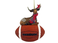 Long Horn Steer Football Ornament