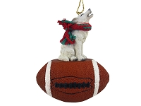 Wolf White Football Ornament