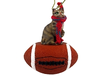 Brown Shorthaired Tabby Cat Football Ornament