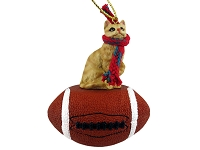 Red Shorthaired Tabby Cat Football Ornament