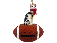 Tortoise & White Cornish Rex Football Ornament