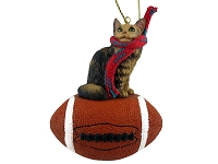 Brown Maine Coon Cat Football Ornament
