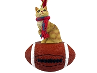 Red Tabby Manx Football Ornament
