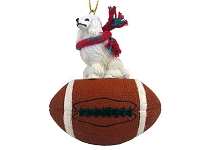 Poodle White Football Ornament