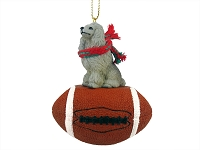 Poodle Gray Football Ornament